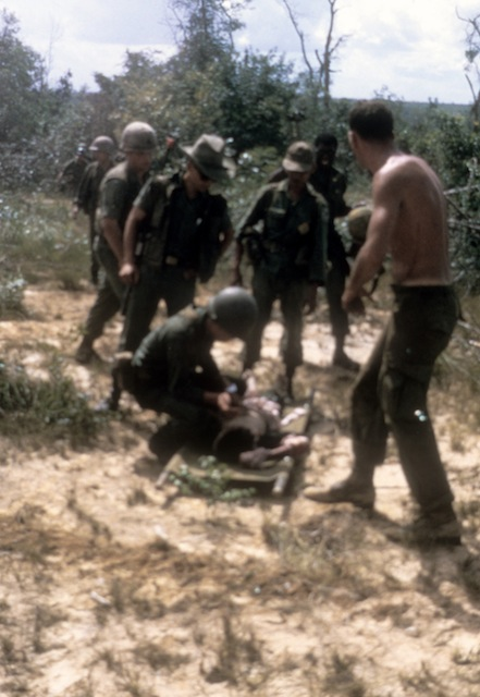 Wounded ARVN being prepped for Medevac