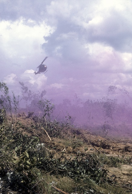 Medevac helicopter approaches in Violet Smoke