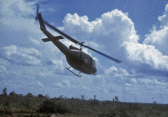 Medevac helicopter leaves with wounded