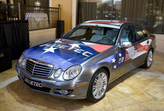 E320 Bluetec decked out for Paris-Beijing