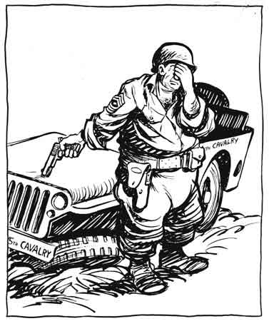 Bill Mauldin's WWII cartoon of an old cavalry sergeant and his wounded Jeep.