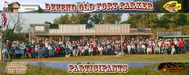 Panorama of contestants at Defend Old Fort Parker