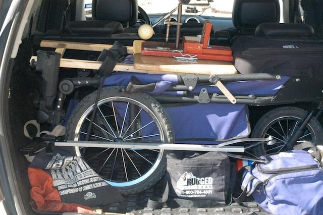 Rugged Gear 4-Gun Cart folded into the back of my SUV