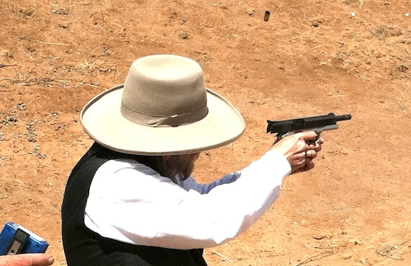 Judge Roy Bean shooting his 1911 in Wild Bunch