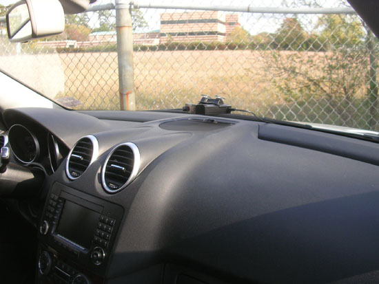 "Valentine 1 Radar detector mounted in a ""hole"" in the infrared shield"