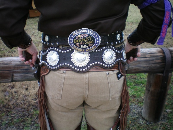 The back view of Sierra Star's B-Western rig by LoneRider Leather.