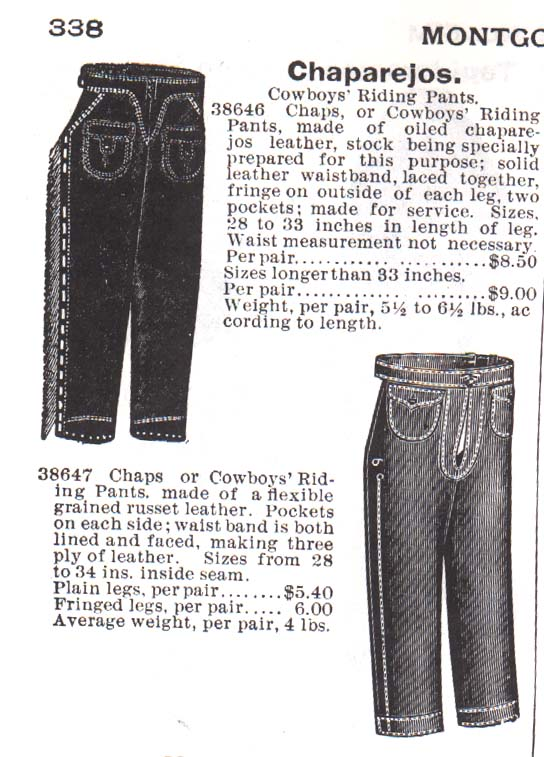 Chaps in the 1895 Montgomery Wards catalog