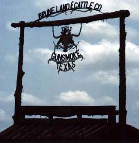 Entry Sign at Gunsmoke, Texas, straight out of the old west