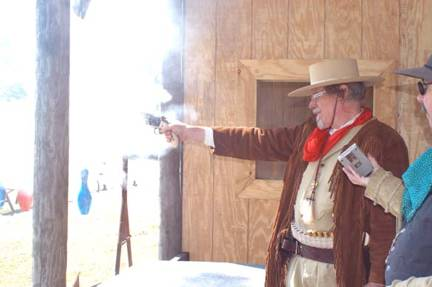 Major Ned Prentiss shooting Frontier Cartridge Duelist