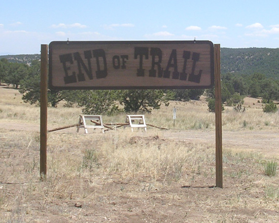 Sign at entrance to Founders Ranch, site of 25th anniversary End of Trail