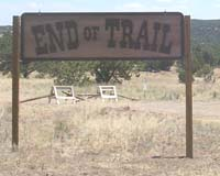 End of Trail sign at entrance to Founders Ranch
