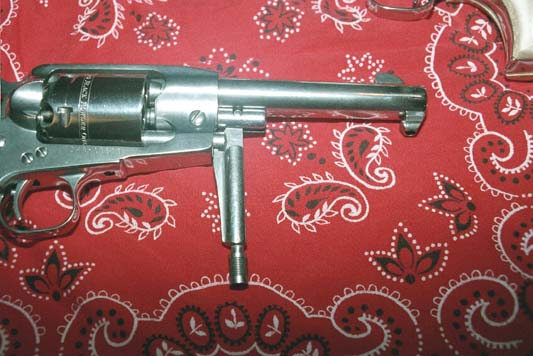 "Ruger Old Army 5-1/2"" barrel with loading lever down."