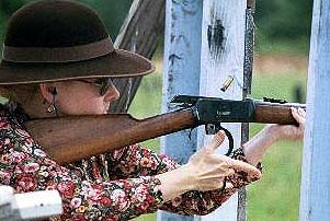 Deadeye Dawn shooting her antique Winchester 92