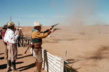 Gunfighters shoot with a gun in each hand
