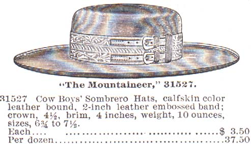 Double buckle hatband in 1895 Montgomery Wards catalog
