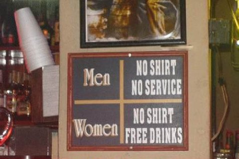 sign at a bar