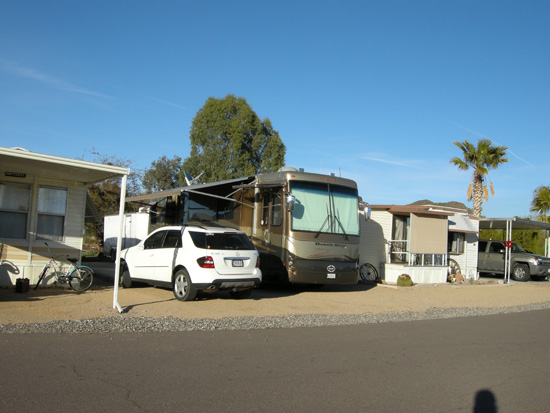 Our parking spot at Pioneer RV Park