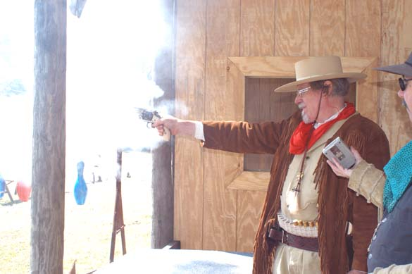 Major Ned Prentiss firing oriiginal Smith and Wesson #3, .44 S & W,Frontier Cartridge