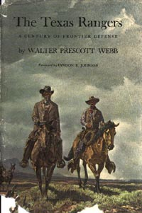 "Cover of Walter Prescott Webb's book, ""The Texas Rangers"" showing Captain Baylor and Sergeant Gillett"