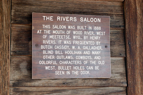 Sign on bar.  Butch and Sundance drank here.