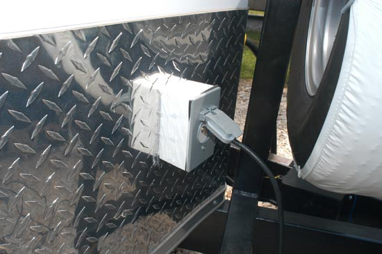 TV cable input outside of trailer