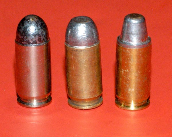 Three 45 acp bullet styles that work in most guns